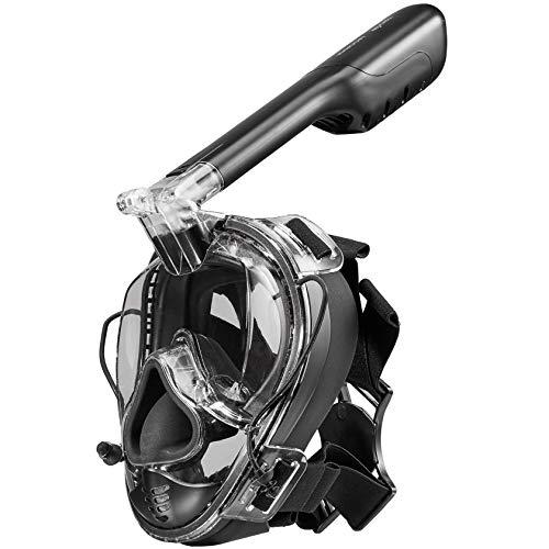 Khroom CO2 geprüfte Schnorchelmaske mit Druckausgleich - das Original aus YouTube - Vollmaske mit Action Kamera-Halterung (z.B. Go Pro) | 180° Sicht | Universalgröße (Schwarz Matt)