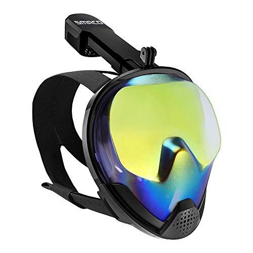 SMACO Vollgesichts-Schnorchelmaske mit UV-Schutz Anti-Fog Anti-Leak Schnorchelmaske mit abnehmbarer Kamerahalterung 180 ° Panoramablick Schwimmmaske für Erwachsene und Jugendliche