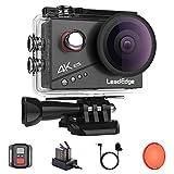 LeadEdge Action Cam 4K 20MP EIS Anti-Shake Externes Mikrofon Rotfilter 2.0 IPS LCD WiFi 170 ° Weitwinkel Tauchen 40M Wasserdichter Unterwasserkamera Helmkamera (2.4G Fernbedienung, 2x1050mAh)