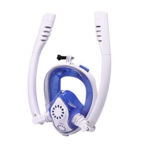 Hans-EU Schnorchelmaske Tauchmaske mit 2 Trockenen Schnorcheln EasybreathVollmaske mit Kamerahaltung Anti-Fog 180 Grad Sichtfeld, für Kinder und Erwachsene