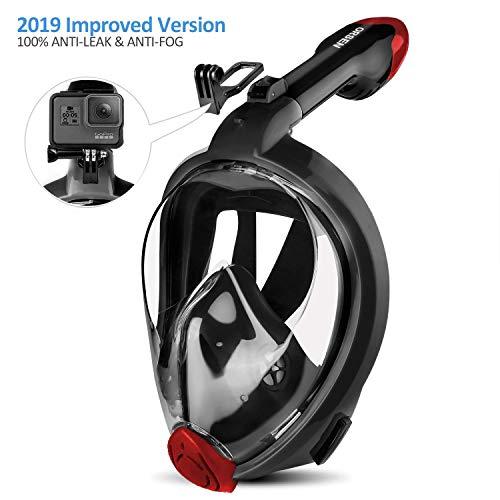 ORSEN Tauchmaske Vollgesichtsmaske für Erwachsene & Kinder, Faltbare Schnorchelmaske Vollmaske mit 180° Sicht und Action Kamera-Halterung, Müheloses Atmen,S/M,Black Red2.1