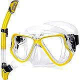 QcoQce 2019 Trocken Schnorchelset,Anti-Fog und Panorama-Weitblick Tauchmaske,Leichtes Atmen und Professionelle Schnorchelmaske mit Weichen Mundstück,Schnorchel Set für Erwachsene (Gelb)