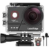 LeadEdge A20 Action Cam 4K/30FPS 1080P/60FPS 20MP Unterwasserkamera Externes Mikrofon WiFi EIS Anti-Shake Helmkamera 40M 2,0 IPS 170 ° Weitwinkel Fernbedienung 2x1050mAh Akkus und Zubehör Kits