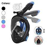 Tauchmaske, Faltbare Schnorchelmaske Tauchermaske Vollgesichtsmaske, mit 180 Grad Blickfeld und Kamerahaltung, Anti-Fog Anti-Leck Easybreath, für Erwachsene und Kinder (Schwarz, L/XL)