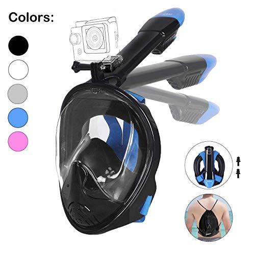 Unigear Tauchmaske, Faltbare Schnorchelmaske Tauchermaske Vollgesichtsmaske, mit 180 Grad Blickfeld und Kamerahaltung, Anti-Fog Anti-Leck, für Erwachsene und Kinder, MEHRWEG (Schwarz-A, S/M)