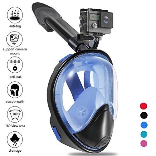 Zenoplige Schnorchelmaske Tauchmaske mit 180° Breitsicht mit Schnorchel und Anti-Beschlag, Blau-Schwarz NEU L / XL