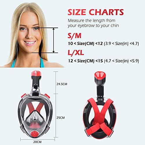 HENGBIRD Tauchmaske Version 3.0 Vollgesichtsmaske mit Gläserstütze Sportkamera Halterung Antibeschlag Schnorchelmaske Tauchermaske für Erwachsene und Kinder insbesondere Brilleträger (Rot L)