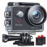 Victure AC420 Action Cam 14MP WI-Fi Full HD 1080P wasserdichte Sport Action Kamera 30M Unterwasserkamera mit 2 Zoll LCD-Bildschirm 170 Weitwinkel-Objektiv 2 Akkus und Montage-Zubehör-Kits