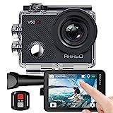 AKASO Action cam/Unterwasserkamera 4K WiFi 40M EIS Anti-Shake Action Kamera 4X Zoom mit Touchscreen, Fernbedienung, Sportkamera wasserdicht Gehäuse,Helmzubehör-Kit V50X