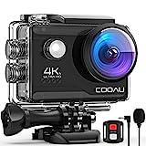 COOAU Action Cam HD 4K 20MP WiFi mit externem Mikrofon Unterwasserkamera 40M mit Fernbedienung EIS Stabilisierung Kamera Wasserdicht 170° Weitwinkel Time Lapse / 2 Akkus 1200mAh / Zubehör