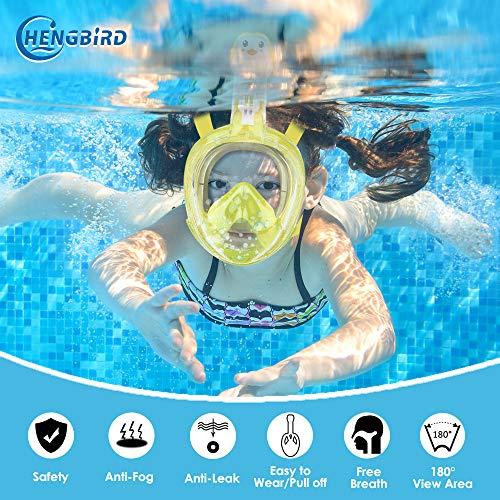 HENGBIRD Tauchmaske Version 3.0 Vollgesichtsmaske mit Gläserstütze Sportkamera Halterung Antibeschlag Schnorchelmaske Tauchermaske für Erwachsene und Kinder insbesondere Brilleträger