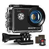 Dragon Touch Action Cam 4K 20MP EIS Unterwasserkamera 30M Wasserdicht WiFi Action Kamera mit 2.4G Fernbedienung 170° Weitwinkel, 4X Zoom, 2 Akkus und Zubehör Kit.