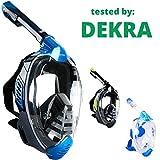 Khroom Von DEKRA geprüfte CO2 sichere Schnorchelmaske Vollmaske   bekannt aus YouTube   Seaview X - Tauchmaske für Erwachsene und Kinder. (Blau, S/M)