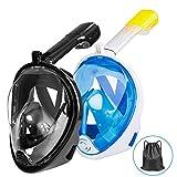 Gvoo Tauchmaske 2 Pack Tauchmaske Vollgesichtsmaske mit Leichter Atmung, 180°Meerblick Antibeschlag Anti Leck Design Schwimm Tauchen Vollmaske mit Action Kamerahalterung für Erwachsene