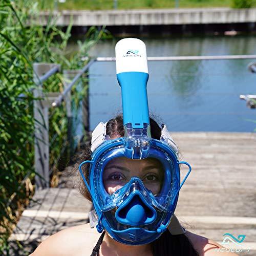 NEULUFT Panorama Schnorchelmaske 2020-180 Grad Anti Fog Tauchermaske für Kinder und Erwachsene als Vollmaske CO2 sicher getestet - Tauchmaske mit Druckausgleich - Full Face Snorkel Mask