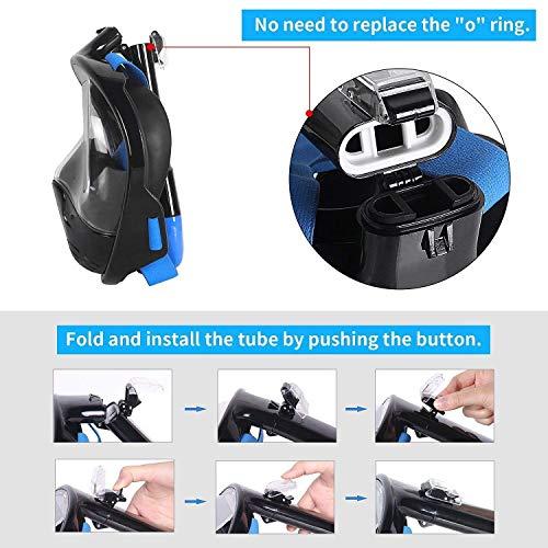 Tauchmaske, Faltbare Schnorchelmaske Tauchermaske Vollgesichtsmaske, mit 180 Grad Blickfeld und Kamerahaltung, Anti-Fog Anti-Leck Easybreath, für Erwachsene und Kinder