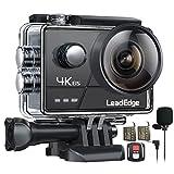 LeadEdge A20 Action Cam 4K/30FPS 1080P/60FPS 20MP Unterwasserkamera Externes Mikrofon WiFi Anti-Shake Bildstabilisator Helmkamera 40M 2,0 IPS 160 ° Weitwinkel Fernbedienung 2 Akkus und Zubehör Kits