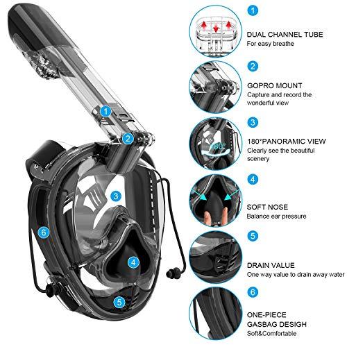 SXC Vollgesichts-schnorchelmaske, Vollmaske Schnorchelmaske Vollgesichtsmaske mit 180° Sichtfeld, Dichtung aus Silikon Anti-Beschlag und Wasserdicht für Kinder und Erwachsene