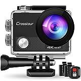 Crosstour CT9000 Action Cam Unterwasserkamera (4K 20MP WiFi Unterwasser 40M Wasserdicht Helmkamera Fernbedienung)