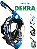 Khroom® Von DEKRA® geprüfte CO2 sichere Schnorchelmaske Vollmaske   bekannt aus YouTube   Seaview X - Schwimmmaske Tauchmaske für Erwachsene & Kinder (Blau, L/XL)